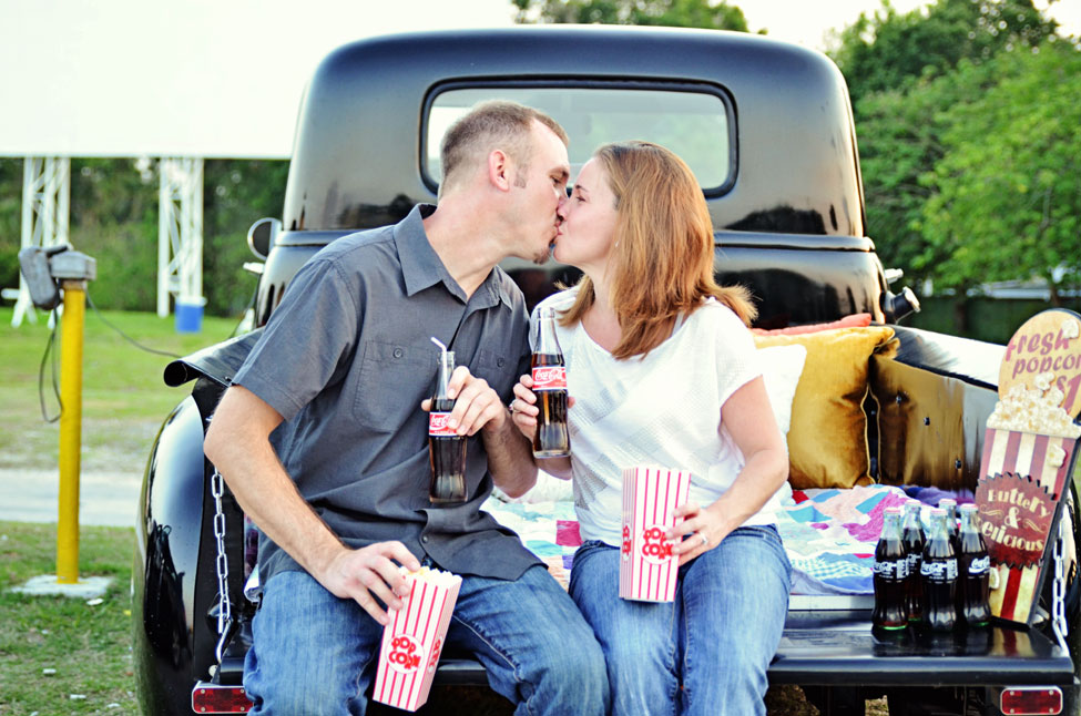 Silvermoon Drive In Movie Engagement Session In Lakeland Florida | Photograph by Captured By Belinda  https://storyboardwedding.com/silvermoon-drive-in-movie-engagement-session-in-lakeland-florida/