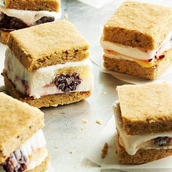 Blackberry-Lemon Ice Cream Sandwiches with Pistachio Shortbread