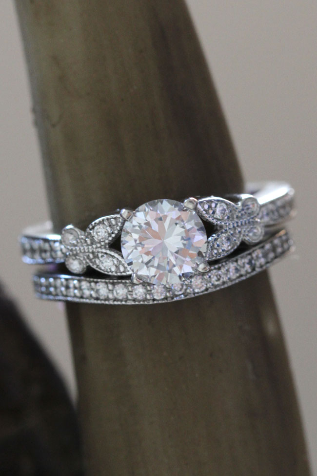 butterfly and ringengagement leaf wedding diamond vinel ring rings ringwedding engagement band platinum media