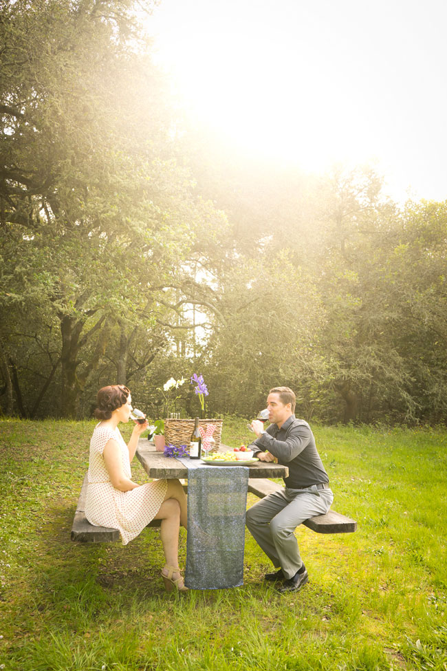 Sunshine Soaked Vintage Picnic Engagement Session In The Woods | Photograph by Angie Capri Photography  https://storyboardwedding.com/vintage-picnic-engagement-session/