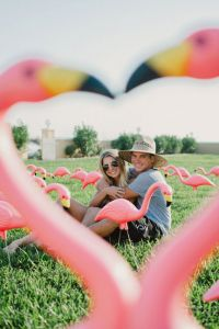 The Perfect Summertime Engagement Session Filled With Flamingos & ...
