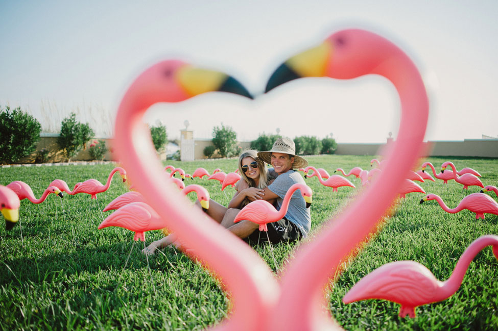 The Perfect Summertime Engagement Session Filled With Flamingos & Tropical Touches | Photograph by Hello Miss Lovely  https://storyboardwedding.com/summertime-engagement-session-flamingos/