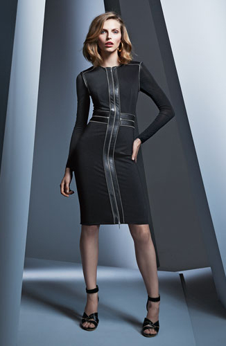 Catherine Deane Zip-Front Cocktail Sheath Dress with Leather Trim