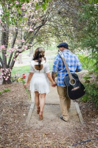 Music Infused Cherry Blossom Engagement Shoot