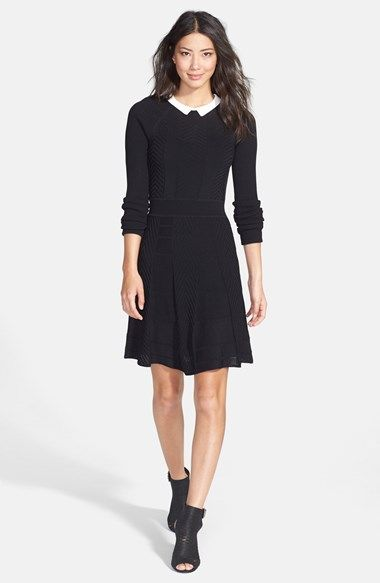 Cynthia Steffe 'Nola' Collared Textured Fit & Flare Sweater Dress