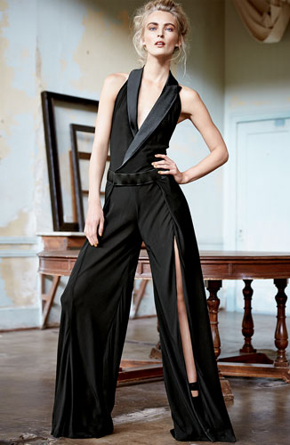 Donna Karen Collared Tux Halter Jumpsuit