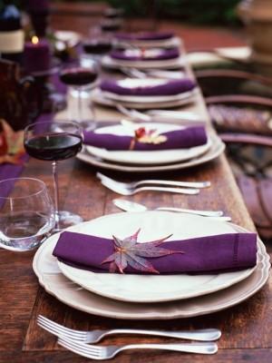 Eggplant and leaf napkin rings