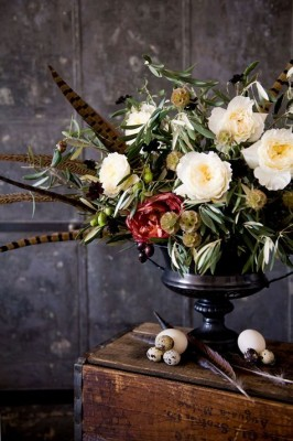 Fall Flower Arrangement with Pheasant Feathers