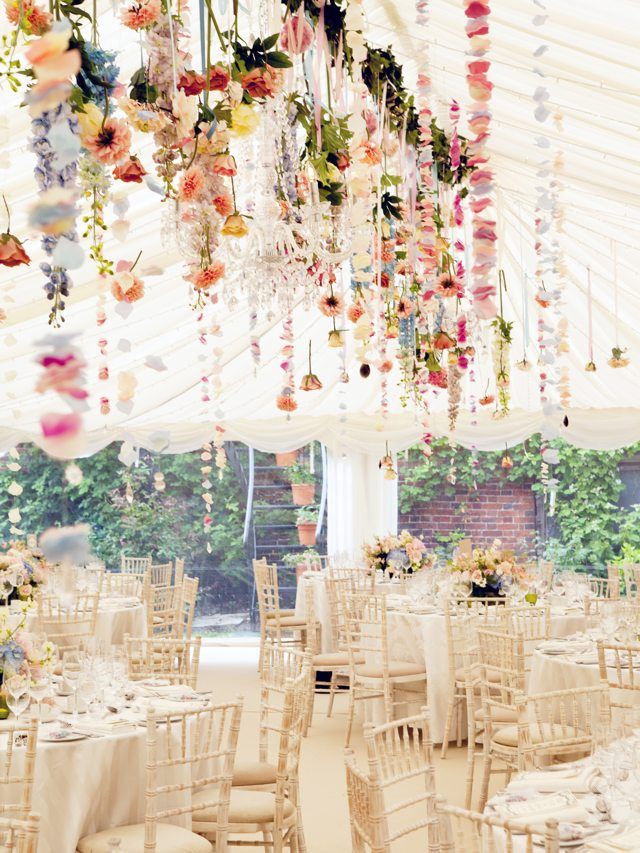 Hanging Floral Centerpiece Tented Wedding Wedding Lovely Jasmine Jade
