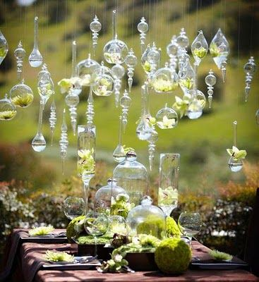 Hanging glass wedding decor