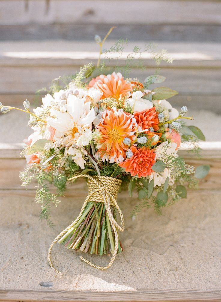 Kiss of orange fall wedding bouquet