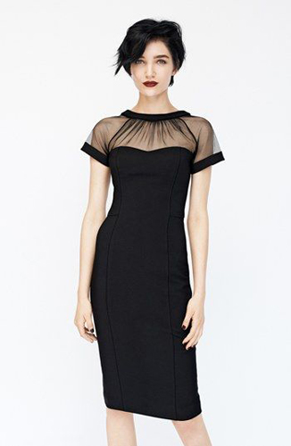 Maggy London Illusion Yoke Crepe Sheath Dress