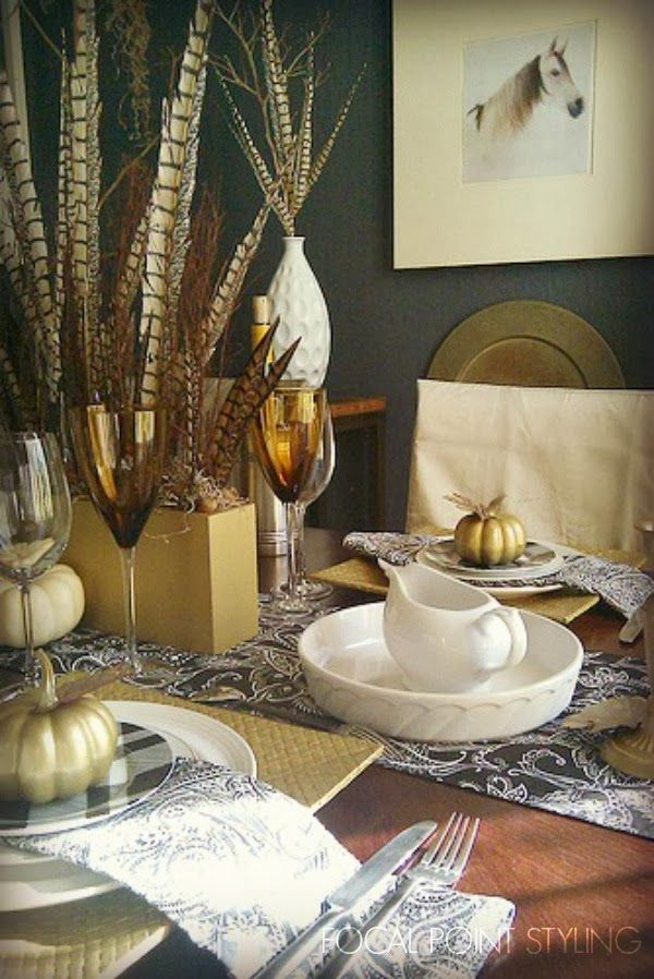 Pheasant Feather Fall Table Setting
