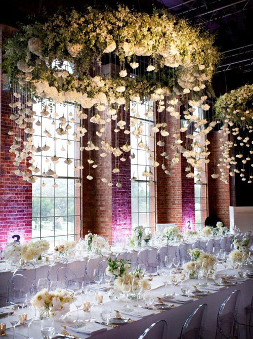 Suspended centerpiece with hanging florals Cecilia Fox