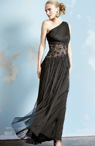 Tadashi One Shoulder Lace Inset Gown