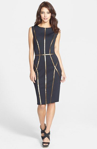 Tadashi Shoji Sequin Trim Neoprene Sheath Dress