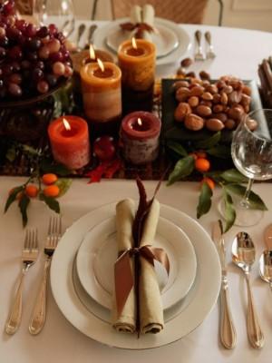 Warm Brown Fall Table Setting