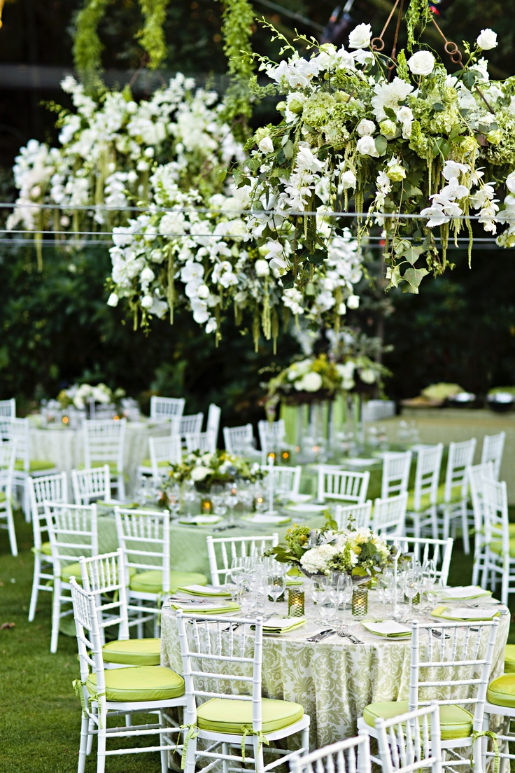 White & Green Outdoor garden wedding suspended centerpieces