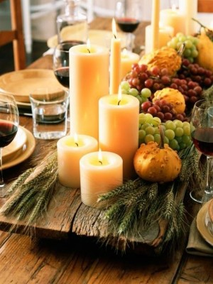 Wood plank candle table runner fall harvest table centerpiece