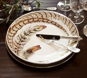 exotic pheasant feather plates