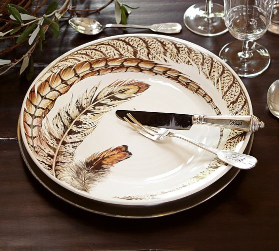 exotic pheasant feather plates