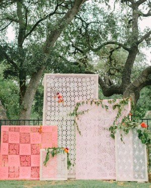 Lace Panel Ceremony Backdrop Mint Photography The Confetti Committee Bricolage Florals via Green Wedding Shoes 1
