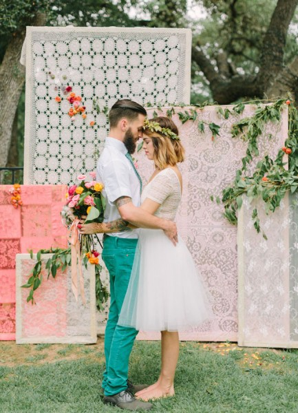 Lace Panel Ceremony Backdrop Mint Photography The Confetti Committee Bricolage Florals via Green Wedding Shoes