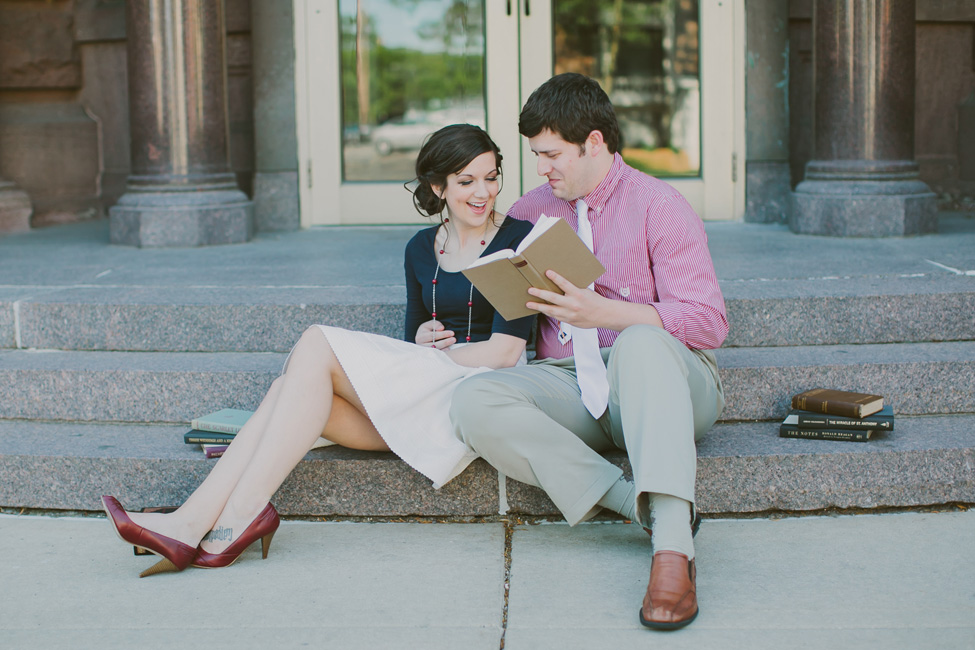 Literary Driven Book Engagement Session With Two Petite Stars | Photograph by Shaunae Teske Photography  https://storyboardwedding.com/literary-driven-book-engagement-session/
