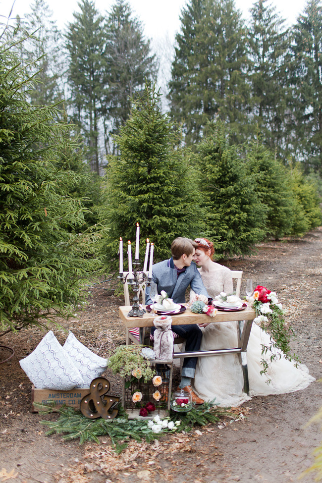 Holiday Wedding Magic At A Private Christmas Tree Farm Infused With Ballerina Charms | Photograph by Melissa Kruse Photography  https://storyboardwedding.com/holiday-wedding-christmas-tree-farm-ballerina/