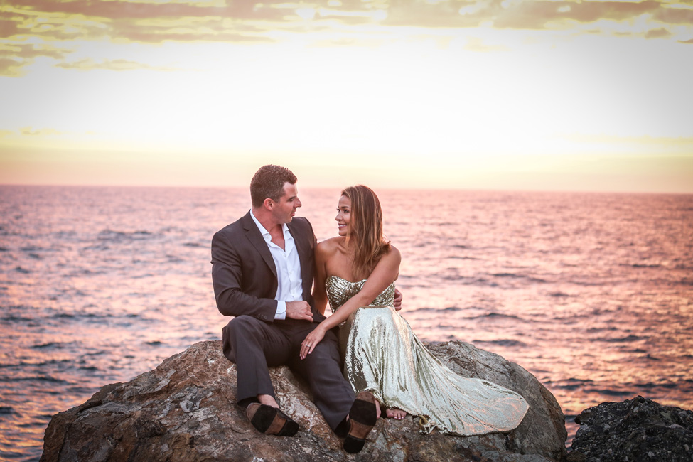 Chic Sunset Engagement Session On A Private California Beach | Photograph by Elizabeth Burgi Photography