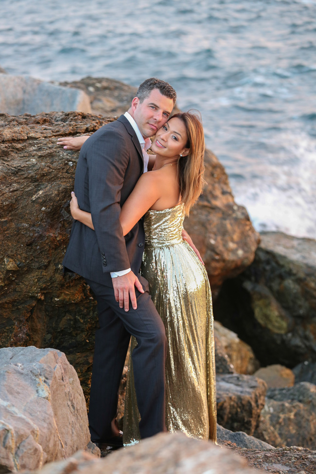 Chic Sunset Engagement Session On A Private California Beach   Photograph by Elizabeth Burgi Photography
