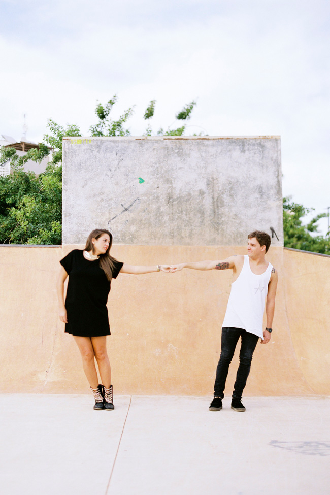 Ibiza Spain Skate Park Engagement Session | Photograph by Ana Lui Photography  https://storyboardwedding.com/ibiza-spain-skate-park-engagement-session/