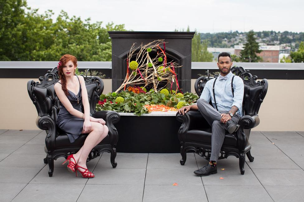 Harvest Hue Seattle Rooftop Wedding   Photograph by Vanasse Studios  https://storyboardwedding.com/harvest-hue-seattle-rooftop-wedding/