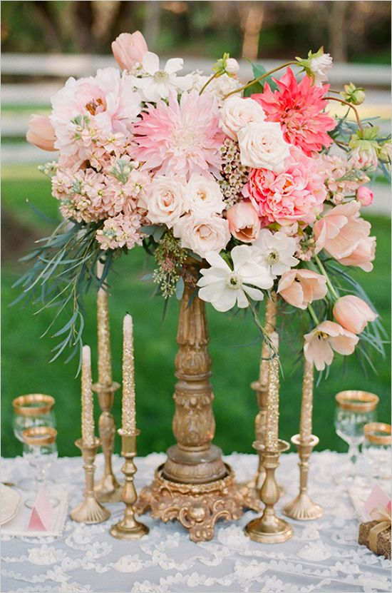 Mixed Pink Tall Centerpiece Valentina Glidden Photography