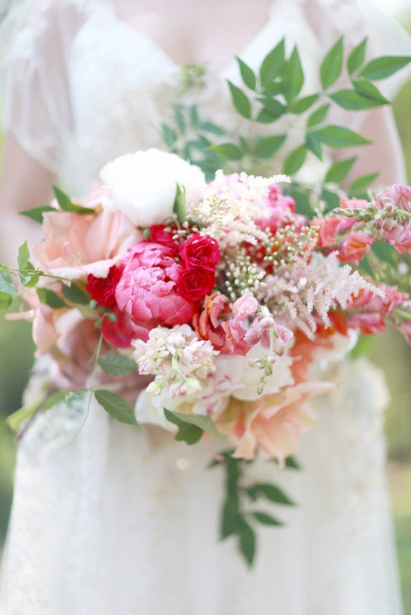 Pink red accent bouquet Simply Bloom Photography