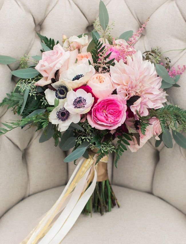 pink fuchsia bouquet Lauren Fair Photography