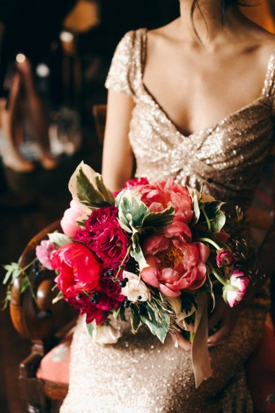 red pink peony bouquet Christine Lim Photography