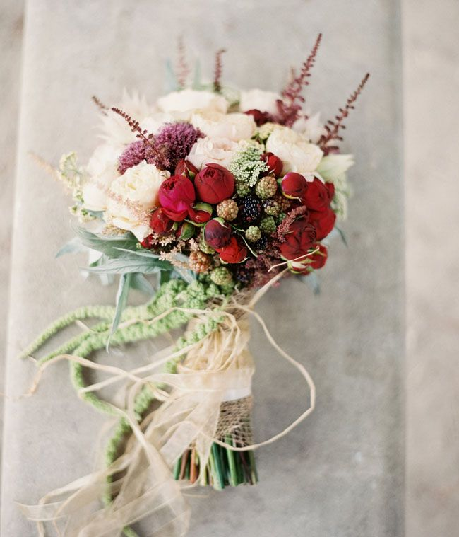 rustic red bouquet Laura Gordon Photography