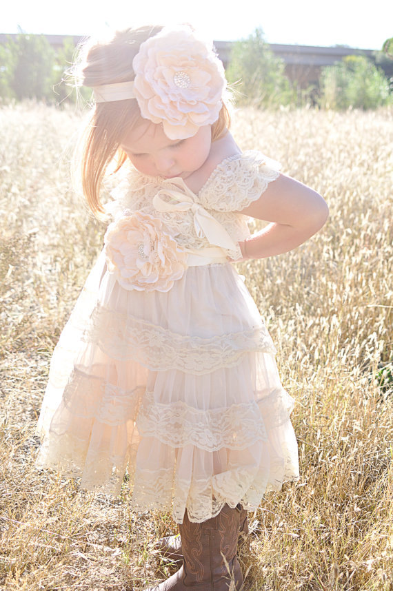 Country Couture Co Ivory Lace Flower Girl Dress