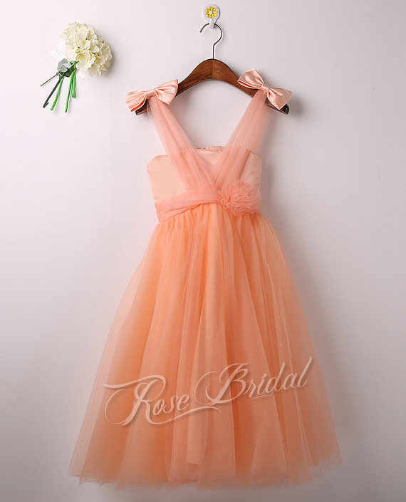 Custom Show Peach Flower Girl Dress