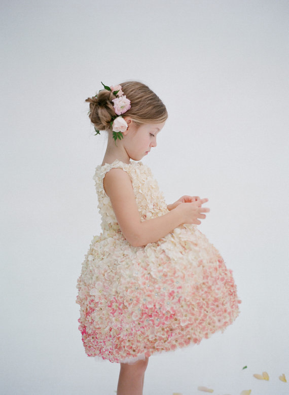 Doloris Petunia Pamela Floral Flower Girl Dress Blush