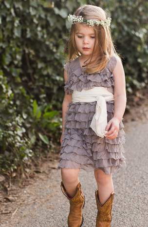 Everything Ruffles Gray Ruffle Flower Girl Dress