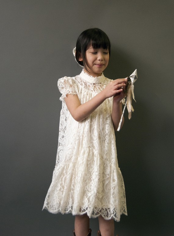 FoxnLily Victorian Lace Flower Girl Dress