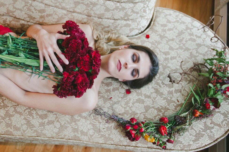 Cozy Indoor Flower Boudoir In Red | Photograph by Alyssa Andrew Photography  https://storyboardwedding.com/cozy-indoor-flower-boudoir/