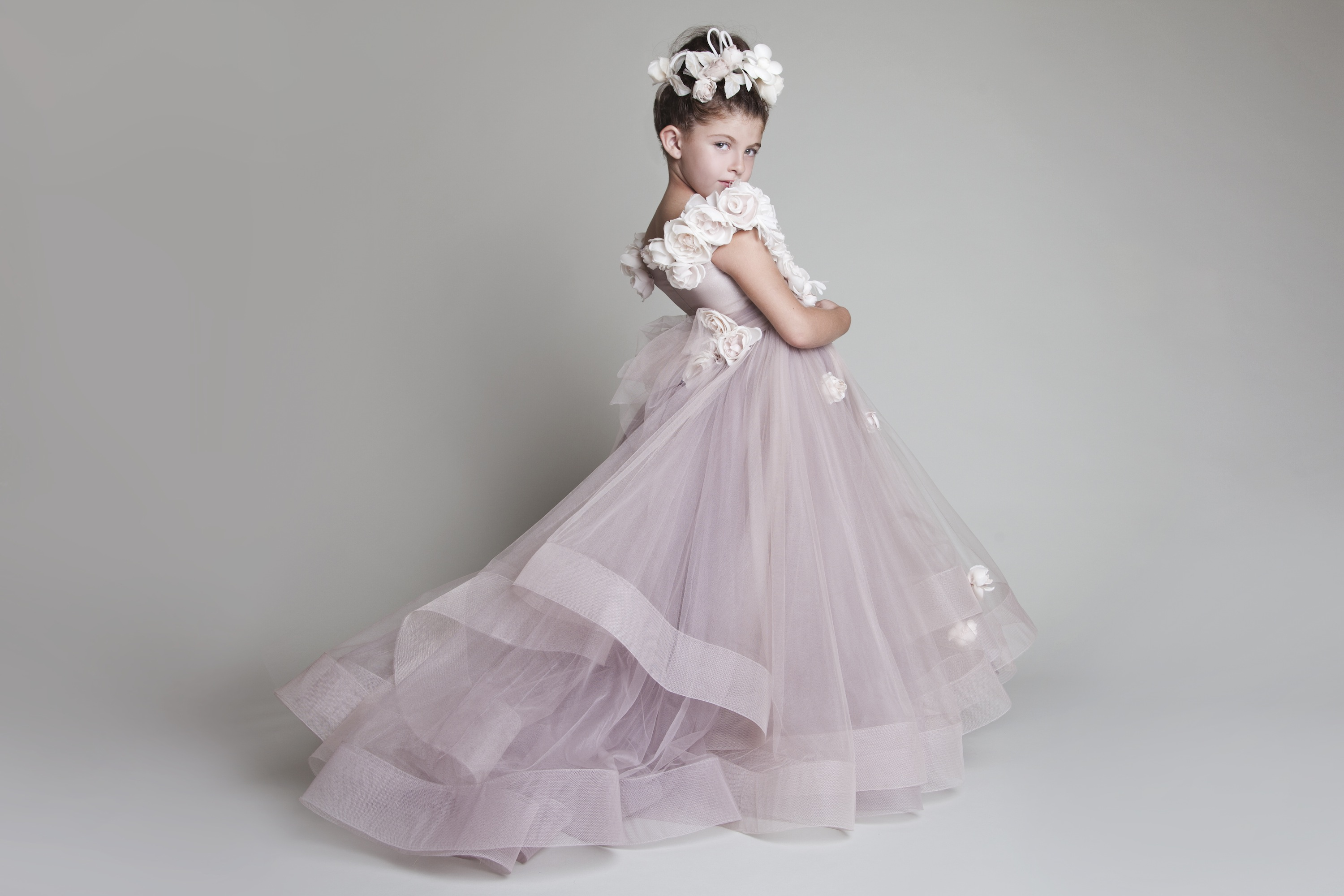 Krikor Jabotian Blush Flower Girl Dress