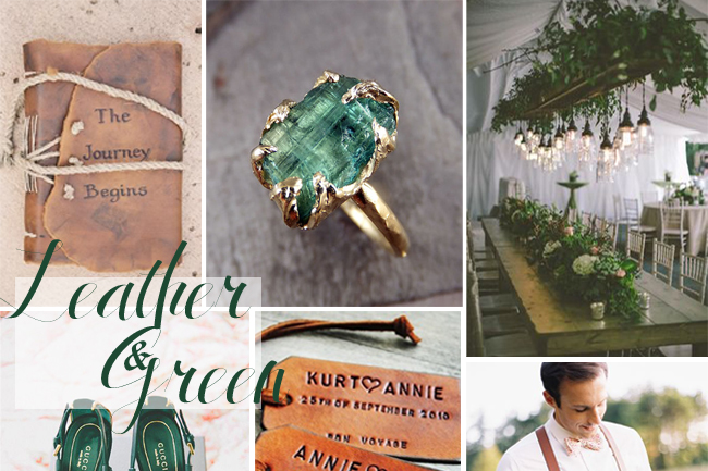 St. Patrick's Day Spring Wedding Inspiration In Hues of Green & Leather