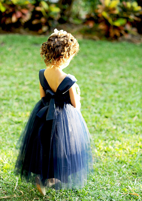 Olivia Kate Couture Tulle Navy Blue Flower Girl Dress