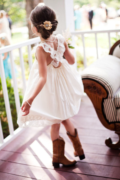 Tea Princess Ivory Lace Cross Back Flower Girl Dress