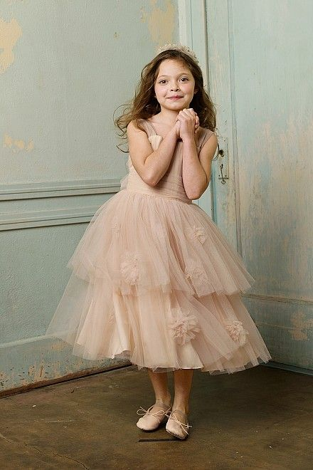 Watters Seahorse Blush Tulle Flower Girl Dress
