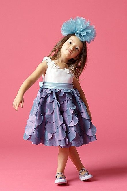 Watters Seahorse Perwinkle Scallop Flower Girl Dress